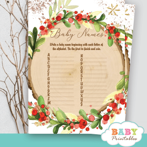 red berry wreath rustic wood slice baby shower games winter holida christmas theme