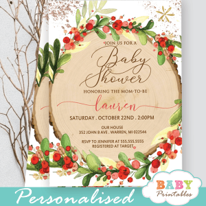red berry wreath rustic baby shower invites christmas woodland theme gender neutral