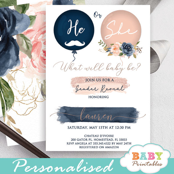 he or she gender reveal invitations blush pink navy balloons gold baby theme