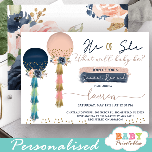 he or she what will it be invitations blush pink navy balloons tassel garland gender reveal ideas