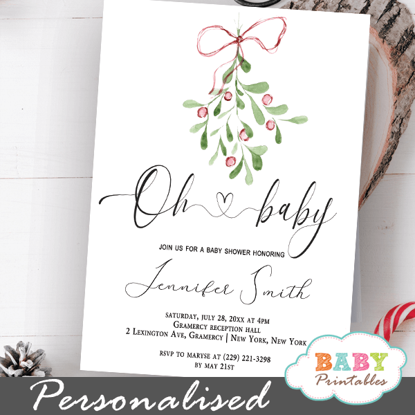 modern christmas mistletoe winter baby shower invitations gender neutral holidays