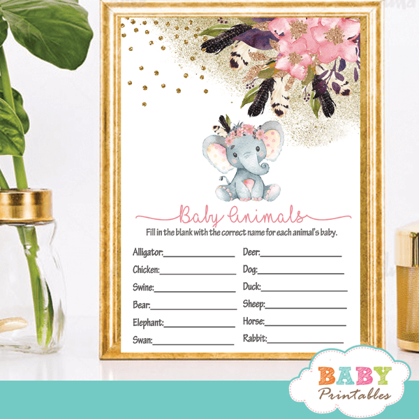 Gold Floral Elephant Baby Shower Games boho girl