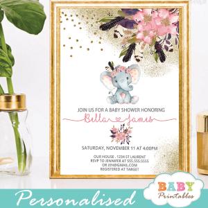 Pink Goldboho Floral Elephant Baby Shower invitations girl