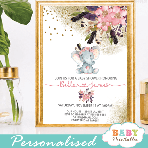 Pink Goldboho Floral Elephant Baby Shower invitations girl