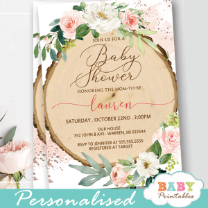 floral blush white roses wood slice rustic baby shower invites girl