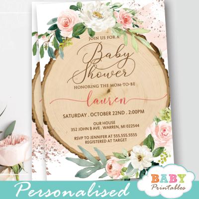floral blush white roses wood slice rustic baby shower invites girl