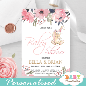 floral pink hand knit bunny baby shower invites