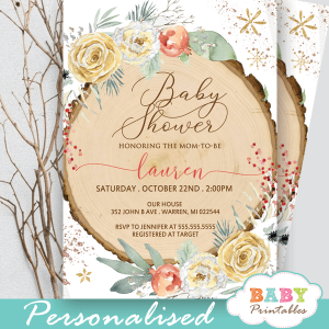 floral rustic wood slice winter wonderland invitations gender neutral baby shower
