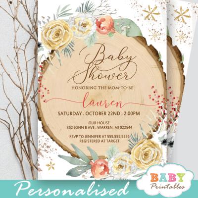 floral rustic wood slice winter wonderland invitations gender neutral baby shower