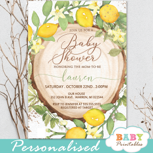 gender neutral rustic wood slice lemon baby shower invites