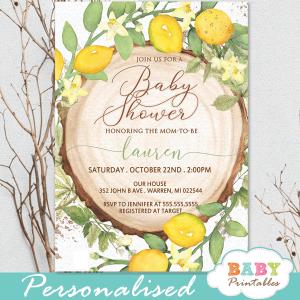 gender neutral rustic wood slice lemon baby shower invites