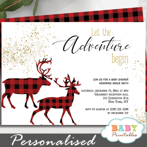 buffalo plaid deer baby shower invitations boy adventure begins lumberjack