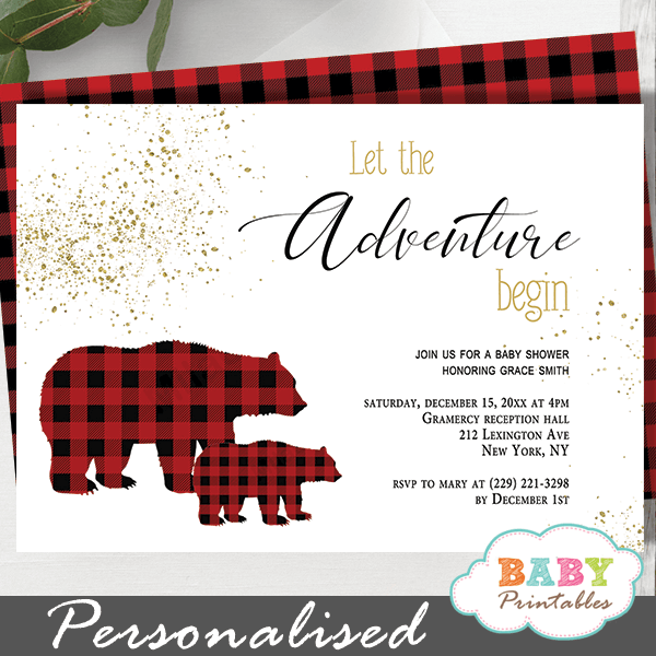 buffalo plaid bear baby shower invitations wilderness boy