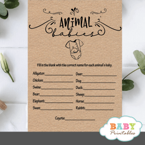 Kraft Paper Rustic Baby Animals Baby Shower Game