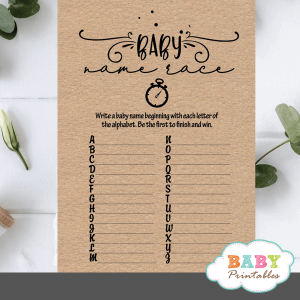 Kraft Paper Rustic Baby Name Race Game