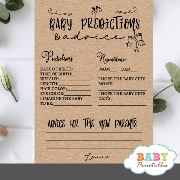 kraft paper rustic baby predictions and advice cards