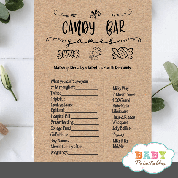 kraft paper rustic baby shower candy bar game