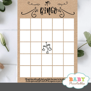 Kraft Paper Rustic Bingo Baby Shower Game