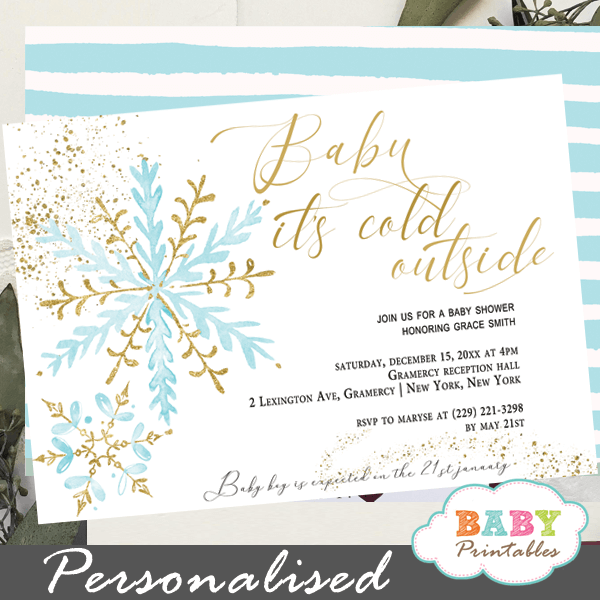 blue gold snowflake baby its cold outside invites boy