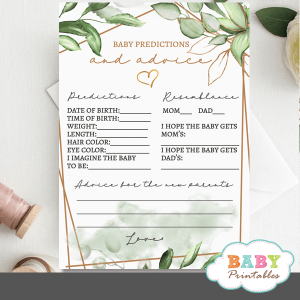 gold geometric frames greenery baby predictions and advice cards