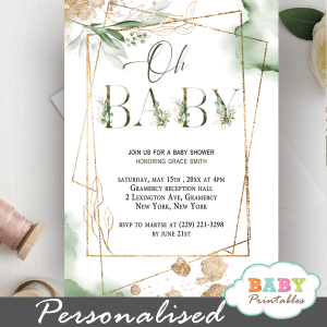 Gold Geometric Frames Greenery Baby Shower Invitations Gender Neutral