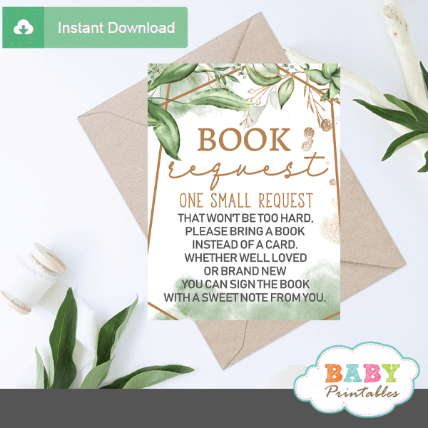 Gold Geometric Frames Greenery Book Request Cards