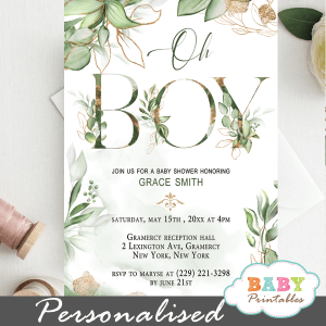 Gold Geometric Frames Greenery Boy Baby Shower Invites