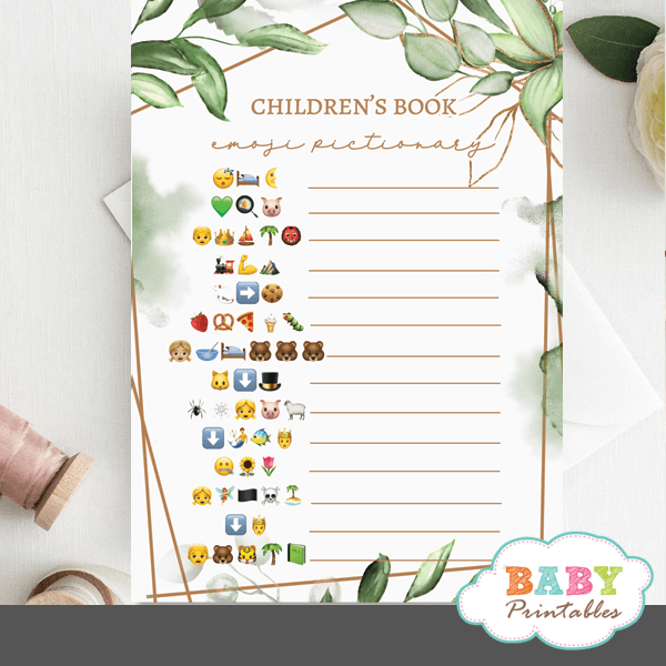 Gold Geometric Frames Greenery Childrens Books Emoji Pictionary game baby shower