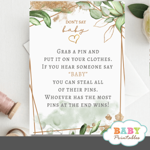 gold geometric frames greenery don't say baby baby shower game