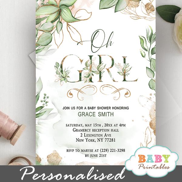 Gold Geometric Frames Greenery Girl Baby Shower Invites
