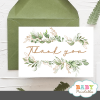 gold geometric frames greenery thank you cards
