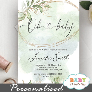 gold wreath greenery baby shower invitations gender neutral