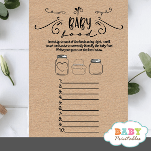 Kraft Paper Rustic Guess The Baby Food Game