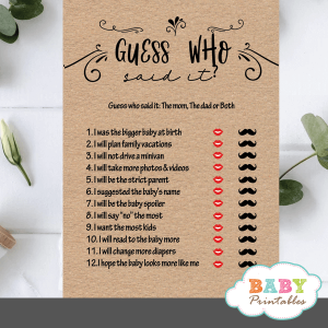 Kraft Paper Rustic He Said She Said Baby Shower Game