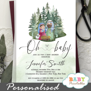 holy family religious baby shower invites biblical theme