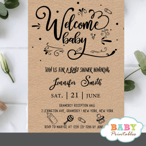 Kraft Paper Rustic Baby Shower Invites gender neutral ideas