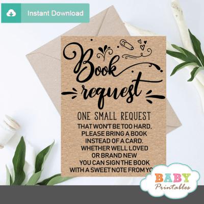 Kraft Paper Rustic Book Request Cards