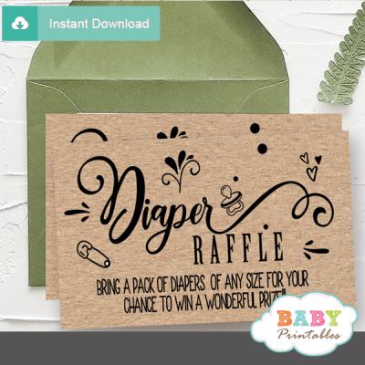 kraft paper rustic diaper raffle tickets gender neutral