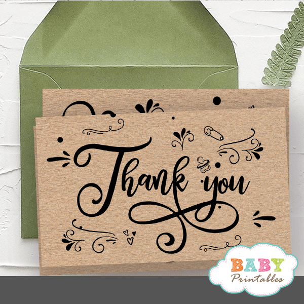 kraft paper rustic thank you cards gender neutral