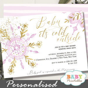 pink gold snowflake baby it's cold outside invites girl