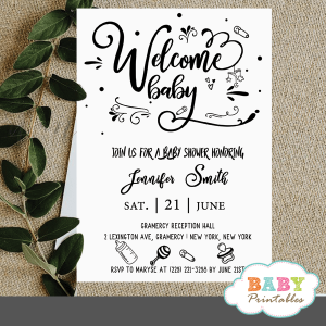 trendy typography modern baby shower invites cute doodles gender neutral