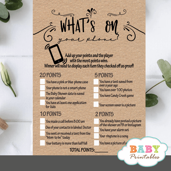 Kraft Paper Rustic What's On Your Phone Baby Shower Game