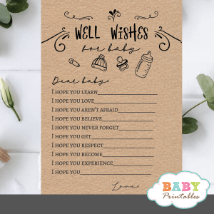 Kraft Paper Rustic Wishes For The Baby Game