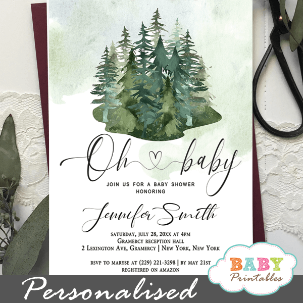 woodland pine trees baby shower invitations greenery forest gender neutral