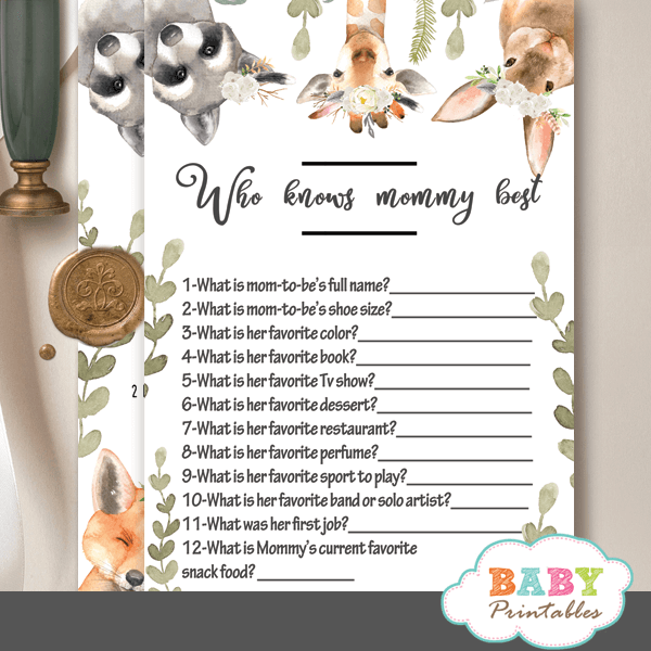 gender neutral woodland baby shower games white flowers greenery