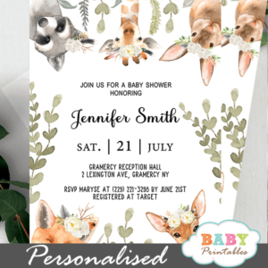 gender neutral woodland baby shower invitations white flowers greenery