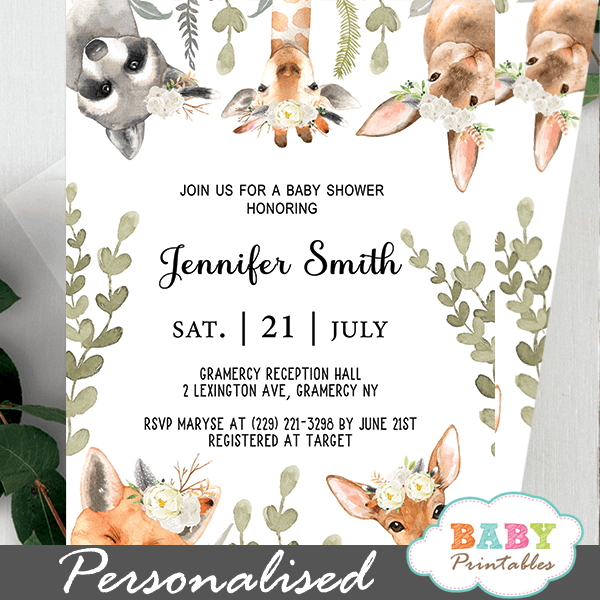 Gender Neutral Woodland Baby Shower Invitations D359 Baby Printables