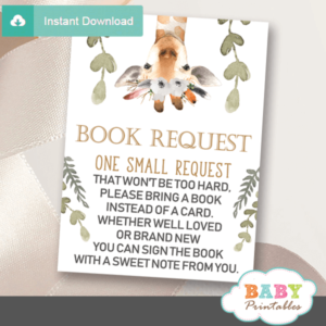 gender neutral woodland book request cards white flowers greenery