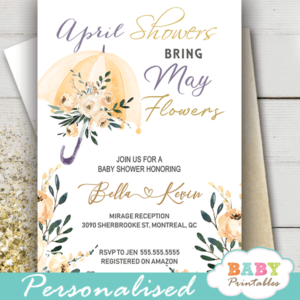 floral beige cream umbrella April Showers Bring May Flowers Invitations spring gender neutral
