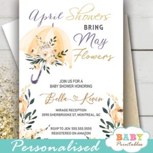 floral beige cream umbrella April Showers Bring May Flowers Invitations spring gender neutral